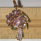 gold-tone Enamel Rhinestone purple Flower Charm bouquet signed FREE SHIPPING