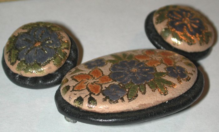 Leather Pin/brooch clip-on Earrings SET Vintage Floral Unique