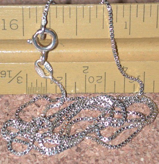 used Sterling Silver fine box Chain 20 inch long marked Italy 925
