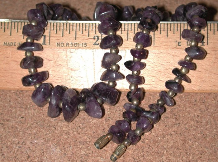 Vintage purple Amethyst Stone Beads Necklace Strand