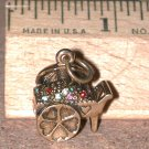 Rhinestone Flower Cart Vintage 3D Charm Gold-tone