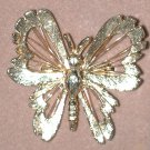 Vintage Gold-tone Butterfly Bug Pin In Box