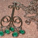 1960's Groovy Green Rhinestone Dangle Necklace Pendant Vintage