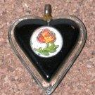 Lucite Vintage Charm Heart Pendant flower Intaglio center