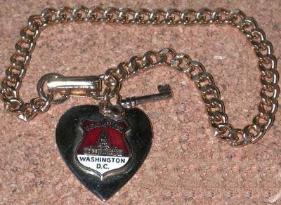 Vintage Charm Bracelet  U.S. Capital Washington D.C. Heart & Key enamel FREE SHIPPING DISCOUNT