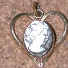 Vintage Filigree Heart carved Shell Cameo Lady Charm FREE SHIPPING