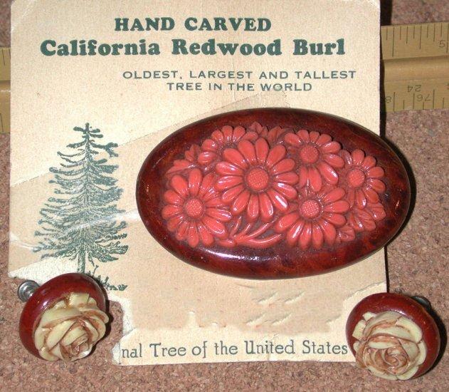 Calif Redwood Burl & Plastic Flower Pin Earrings Vintage