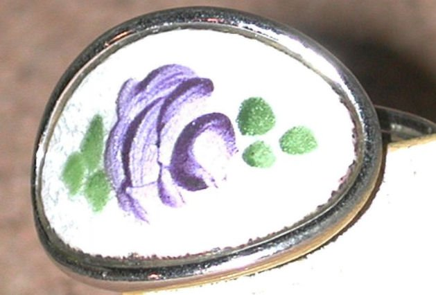 Vintage guilloche Enamel Rose Ring Signed Sarah Cov. Coventry adjustable Size FREE SHIPPING