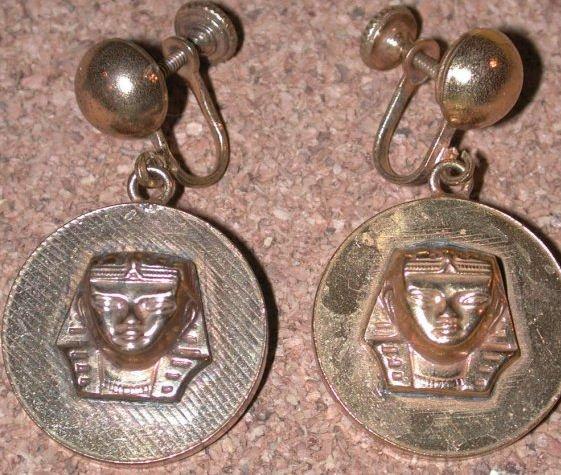Vintage screw-back Egyptian king Tut Head Charm Earrings Brass?