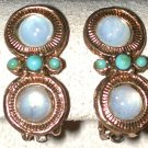 VINTAGE Earrings Clip on Gold-tone fake opal stones