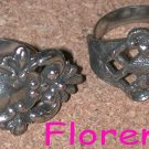 Signed Florenza Spoon Ring Lot 2 Vintage silver-tone