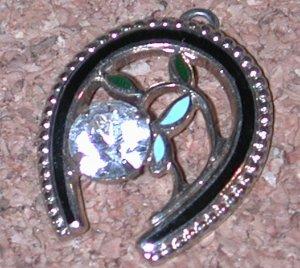 rhinestone Enamel Horseshoe Lucky Charm Vintage