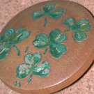 Vintage Irish clover leaves Pin Carved Wood shamrocks