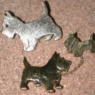 metal Scottie Dog Pin LOT brooch vintage mom pup & Clara