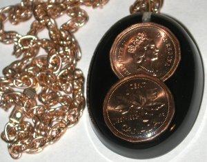Lucite Pendant Necklace copper vintage Canada Penny inside