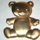 Teddy Bear Pin vintage Signed JJ gold-tone head moves