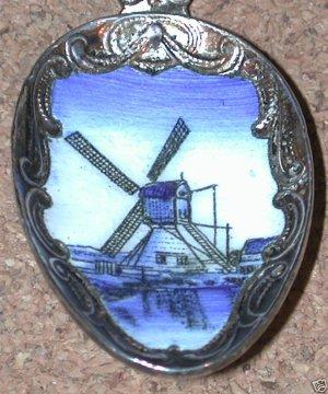 Enamel Souvenir Spoon Czechoslovakia Delft Windmill