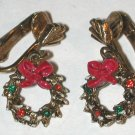 Christmas Rhinestone Wreath Clip on Earrings Vintage