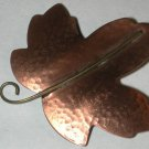 Copper Leaf Pin vintage marked/signed HMK CDS