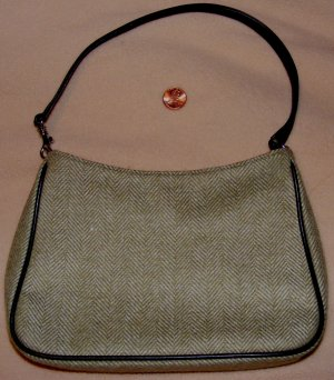 BANANA REPUBLIC Small Green Herringbone Handbag Wool
