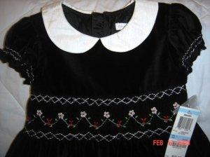 NWT Charter Club Smocked Black Velvet Lined Dress Sz5