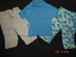 Cute 6-9M Girls Bootcut Cargos and Children's Place Outfit