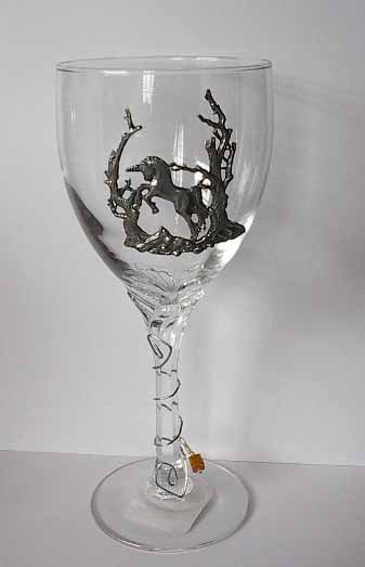 Pewter Unicorn in Forrest   Wine Glass Free Shipping