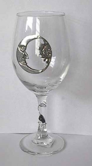 Pewter Moon and Sun Wine Glass Free Shipping
