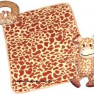 Three Piece Giraffe Blanket With Neck Pillow and Stuff Toy