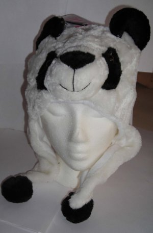 Plush Panda Faux Fake Fur Animal Pompom Hat