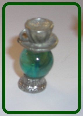 Cup & Saucer Mini Pewter Figurines on  Marble