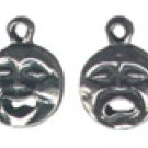 Happy Sad Face  Pewter Charm 4 Total