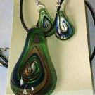 Green Gold  Murano Glass   Necklace Set W Matching Earrings