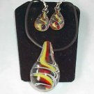 Yellow Red Murano Glass   Necklace Set W Matching Earrings