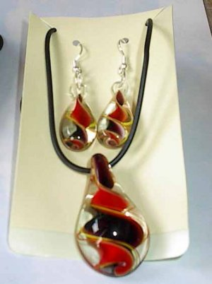 Black  Red Murano Glass   Necklace Set W Matching Earrings