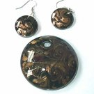 Black and Gold  Murano Glass   Pendant W Matching Earrings