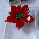 Red Flower  Glass Pendant
