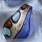 Blue Silver  Lt Blue Teardrop  Glass Pendant