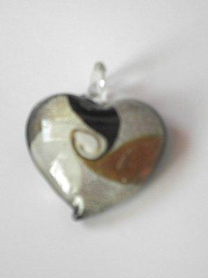 White Heart Lampwork  Glass Pendant