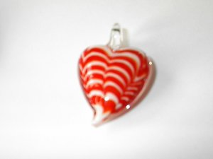 red and White heart Lampwork  Glass Pendant