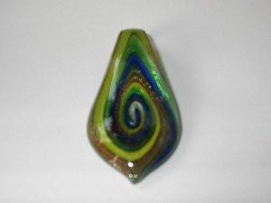 Green Tear Heart Lampwork  Glass Pendant