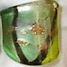 Multi Greens MURANO GLASS RING Size 6