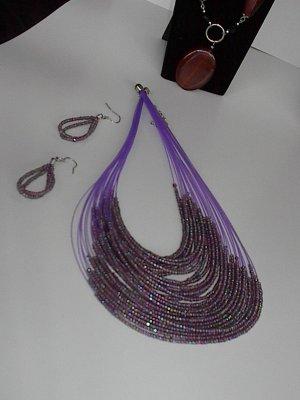 Purple Seedbead  NECKLACE SET
