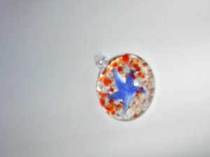 red white with starfish Lampwork  Glass Pendant