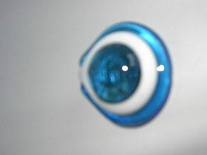 Blue White Round Lampwork  Glass Pendant