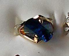 Blue Austrian Crystal Stone set in 14kgp Size 4