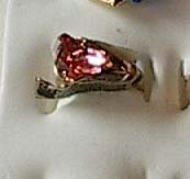 Pink Austrian Crystal Ring 18Gold Plated Size 4