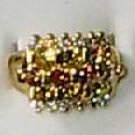 Citrus Stone and  Cz Ring 18Gold Plated Size 10