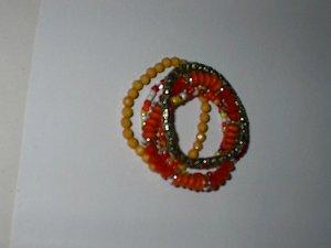 Orange Color  5 Strand Stretch  Bracelet