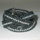 Black Seedbead And Gray Pearl Bead Stretch  Bracelet